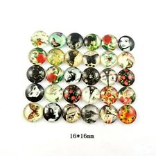40pcs Assorted 16mm Round Glass Cover Cameo Cabochon Flat Back
