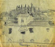 Paula Wimmer 1876-1971 Dachau / Zeichnung / Ansicht von Florenz / Italien sign.