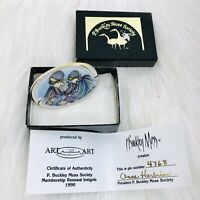 1990 P Buckley Moss Pin Brooch Anna Perenna #4768 Certificate of Authenticity