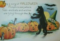 Halloween Postcard Whitney Black Cat Maestro Band Conductor Singing JOL 1921