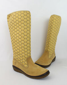 Timberland Women's Ochre Yellow Honeycomb Embroidered Knee High Boots Size 9