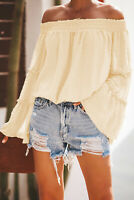 Pale Yellow Swiss Dot Off The Shoulder Bell Sleeve Elastic Waist Top X-LARGE