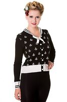 Black White Anchors Vintage 50's Retro Rockabilly Cardigan By Banned Apparel