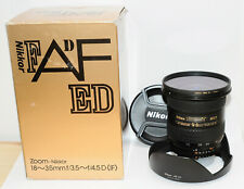 NIKON 18-35mm f3.5-4.5 D ED IF AF NIKKOR FULL FRAME Lens HB-23 Hood Filter JAPAN
