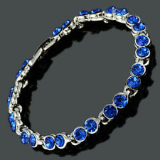 Women Crystal Blue Sapphire Tennis Bracelet (Extended Clasp)