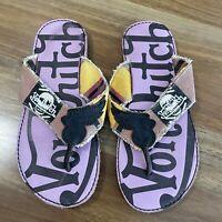 VON DUTCH Sz 38.5 EU  Thongs/ Flip Flops Sandals Colourful Casual RARE! Purple