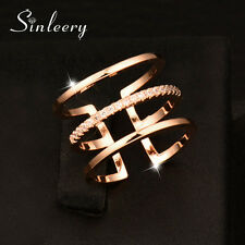 Fashion 2017 Crystal 3 Layers Midi Rings For Women Brand Jewelry Promise Ring