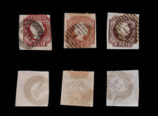 1856 Portugal D. Pedro V 5 reis. 3 x #10 USED stamps. Different Color Shades.