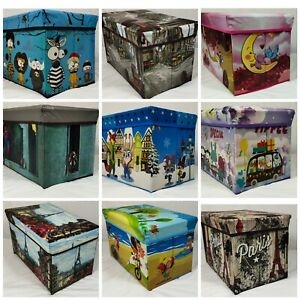 KIDS TOY BOX BOYS GIRLS BOOKS HOLDER CHEST CLOTHES STORAGE OTTOMAN STOOL LID