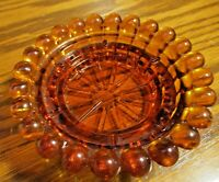 """Vintage Indiana Glass Amber Pillar Candle Holder (D 4.25"""") Beaded Edges      129"""