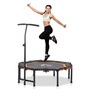 Trampoline Outdoor Bouncer Jumper w/ 3-Level Adjust Handle Adult Kid - Orange