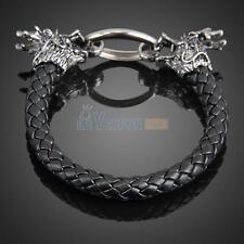 Fashion Dragon Ring Man Braid Bracelet Leather Band Bangle Black  #3YE