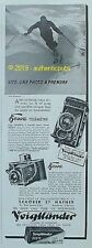 PUBLICITE VOIGTLANDER APPAREIL PHOTO BESSA TELEMETRE SKI NEIGE DE 1937 FRENCH AD