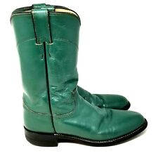 Justin womens western boots size 7.5 B green leather riding boot cowgirl