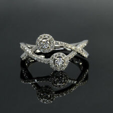 Stone 925 Sterling Silver Engagement Ring 1Ct Round Cut Real Moissanite Ring Two