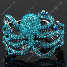 Blue sapphire rhinestone crystal marine octopus bangle bracelet charm fashion