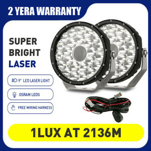 Laser Spotlights 9inch LED Driving Lights OSRAM Offroad SUV 4WD Round Headlights