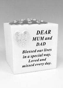Mum & Dad White Angel Wing Memorial Vase rose bowl Parents Grave Garden Ornament