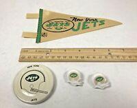 Vintage New York Jets Mini Pennant, Gatorade Lid, & 2 Helmet Push Pin