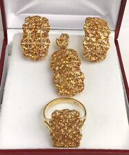 14k Solid Gold Rectangle Set Earrings Ring Pendant, Natural Orange Sapphire.