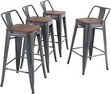 Cafe Bar Stools Set of 4 Counter Height Kitchen Patio Bar Chairs Stack-able Gray