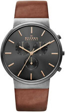 Men's Skagen Ancher Chronograph Leather Band Watch SKW6106