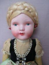 """Antique Vintage 13"""" Papier Paper Mache & Oil Cloth Doll Original Clothes"""