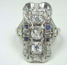 Antique Vintage Art Deco Diamond Engagement Ring 18K White Gold Rg Sz 9 EGL USA