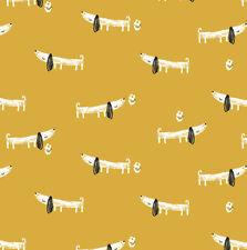 Dashwood ~ Sausage Dog Yellow KNIT jersey Fabric / quilting dressmaking children