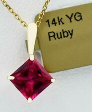 RED RUBY 1.39 Cts PENDANT 14K YELLOW GOLD *** Free Chain**** New With Tag