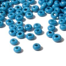 (3000) 1mm vintage Czech opaque teal blue rondelle micro seed glass beads