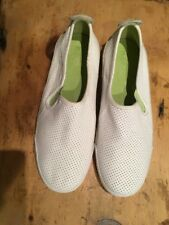 Women's KEDS White Perforated Leather Slip On Sneakers Size 9.5