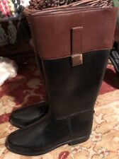 NEW Banana Republic Black Brown Tall Rain Womens Boots Back Elastic Size 6.5