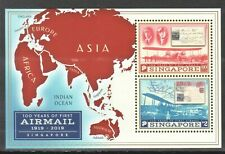 SINGAPORE 2019 100 YEARS OF FIRST AIRMAIL SOUVENIR SHEET OF 2 STAMPS IN MINT MNH