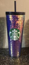 Starbucks 2020 Blue and Iridescent Sequin Cold Tumbler Venti 24 Oz
