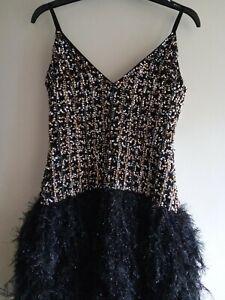 Asos Black, Silver & Gold Sequin & Fringe Mini Dress Size 8 Worn Once