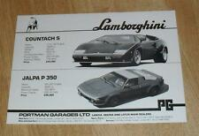 Portman Cars Brochure Flyer inc Lamborghini Countach Jalpa Circa 1981