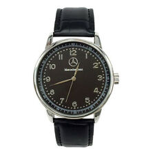 Mercedes Benz Mens Stainless Steel Black Dial Black Leather Strap Sport Watch