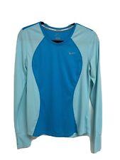 Nike Dri-Fit running women's t-shirt long sleeve crew neck blue size M