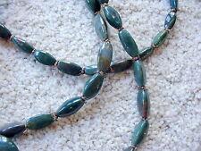 "Beggars Beads, 1970, green agate, 27"" long"