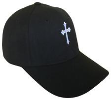 Black Christian Cross Religious Baseball Cap Caps Hat Hats God Jesus White OL