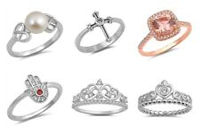 "NEW Sterling Silver Rings- ""CROWN, CROSS, ENGAGEMENT, HAND OF GOD, PEARL, HEART"""