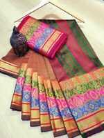 Designer Silk Blend Saree Weaving Jacquard Sari Indian Traditional Women's Cloth
