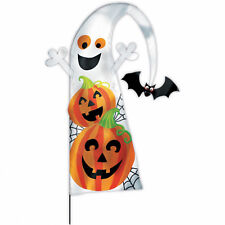 Party Chap Pumpkins & Ghosts Feather Flag Garden Stake fabric w/Plastic Stake