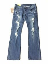 Machine Jeans Womens Ripped Destroyed Distressed Jeans Low Rise Skinny Size 27