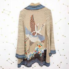 Anthropologie Cardigan Size Small S Tan Floral Embroidered Crane Kimono Bird HWR