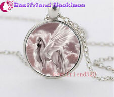 Elegance unicorns Cabochon Glass silver necklace for women men Jewelry