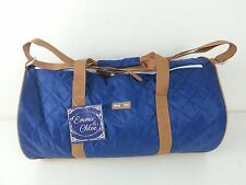 NWT EMMA & CHLOE Blue Tan Rolling Storage Carrying Bag Travel Duffel Luggage