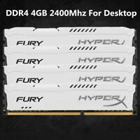 Pour Kingston HyperX 4 Go 8 Go 16 Go DDR4 2400 MHz PC4-19200 RAM de bureau blanc