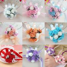 Wedding Beads Roses Ribbon Corsage Bridesmaid Wrist Party Flower Bracelet Decor